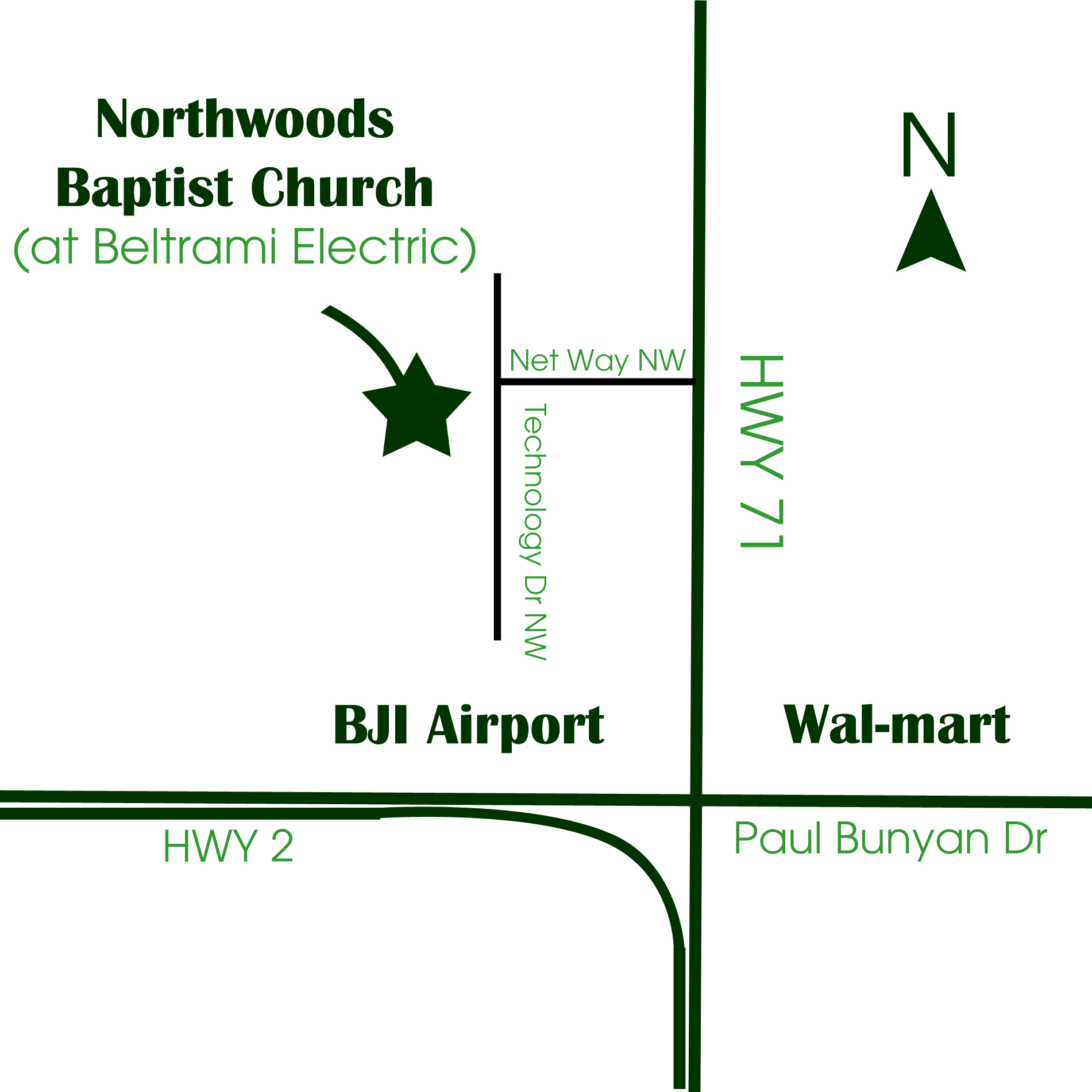 Map to Northwoods Baptist Church